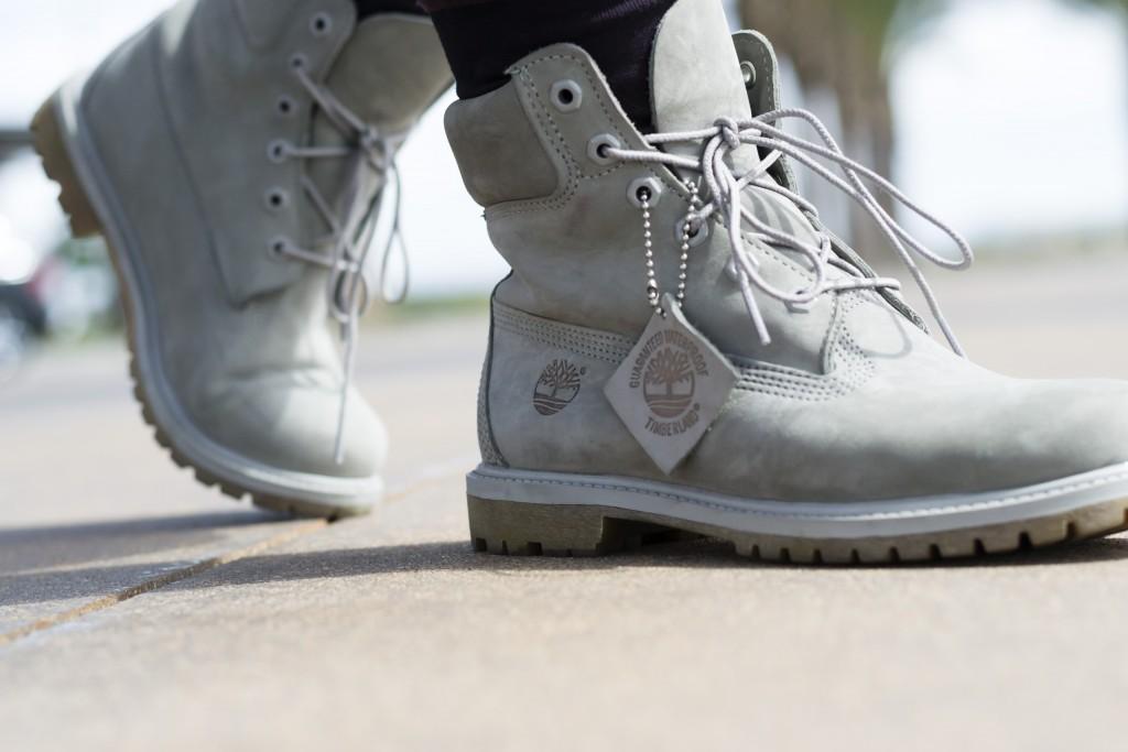 Monochrome Grey Timberland Boots