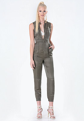 Dusty Olive Cupro Zip Detail Jumpsuit from Bebe