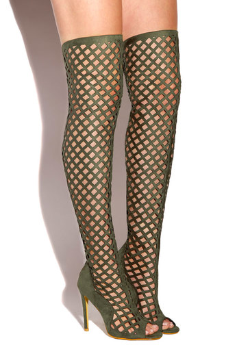 So Notorious laser cut over the knee boots in Olive by Lola Shoetique