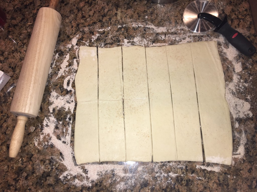 Cut dough into 6 strips