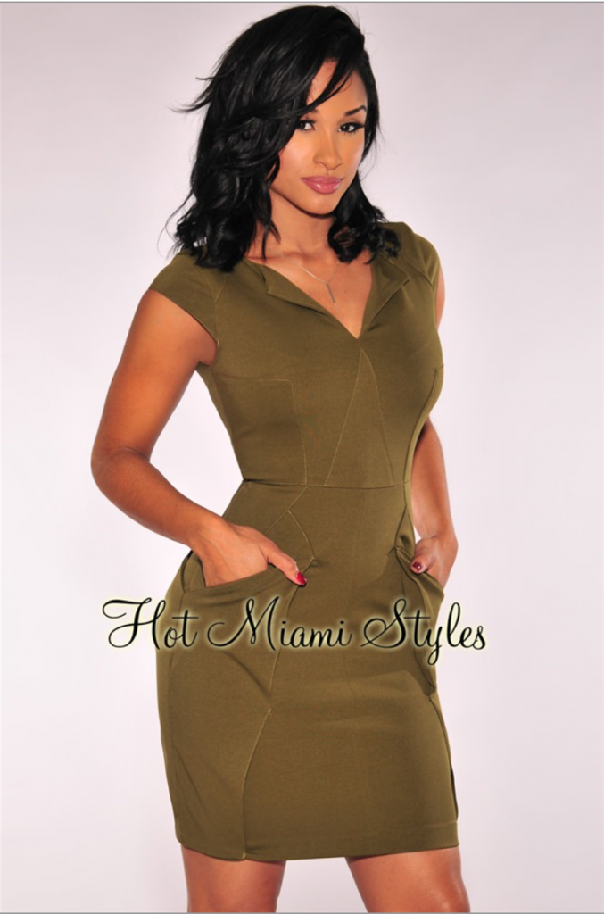 Olive Oragami Dress from Hot Miami Styles