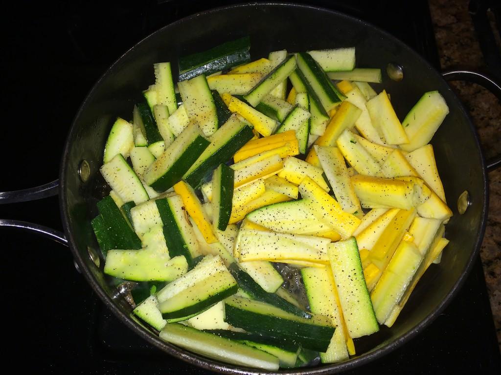 Sautee and season chopped zucchini